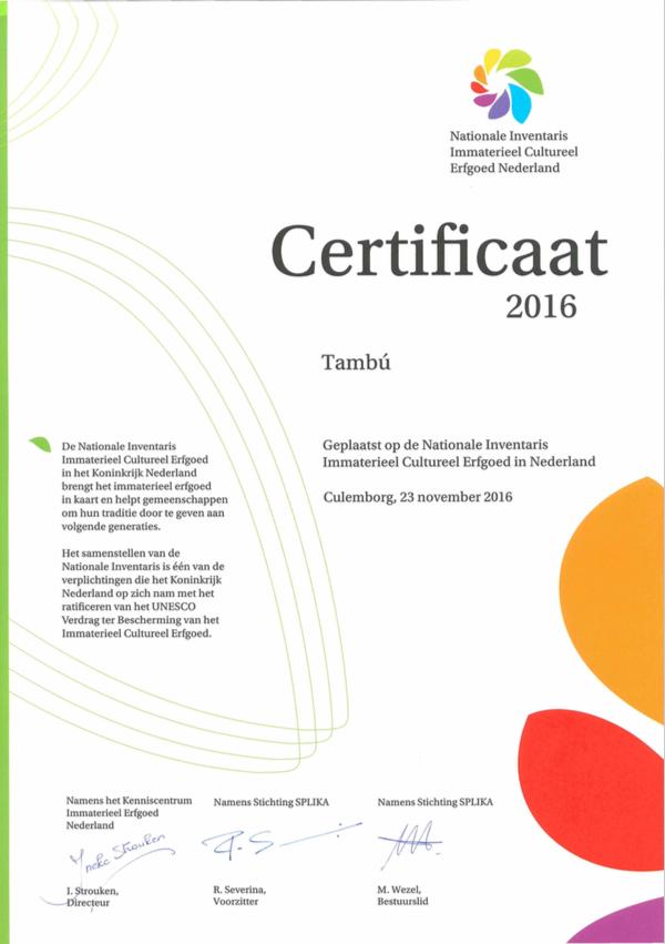 Splika Certificaat Tambu Cultureel Erfgoed Antillen in Nederland