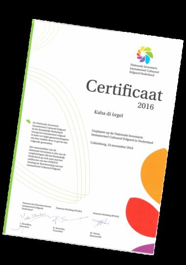 Splika Certificaat Kaha di Orgel Cultureel Erfgoed Antillen in Nederland