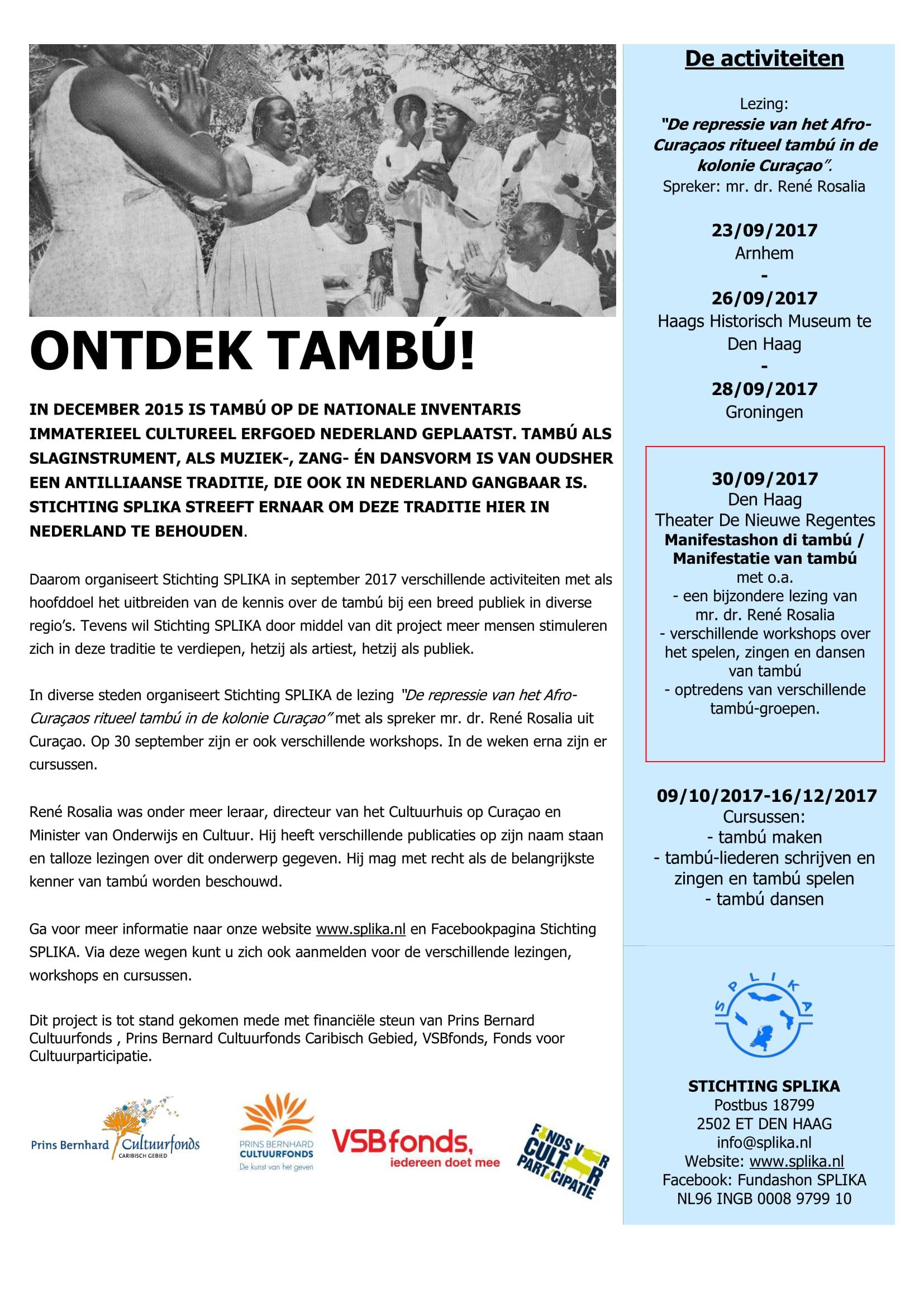 170824 poster Ontdek Poster Tambú
