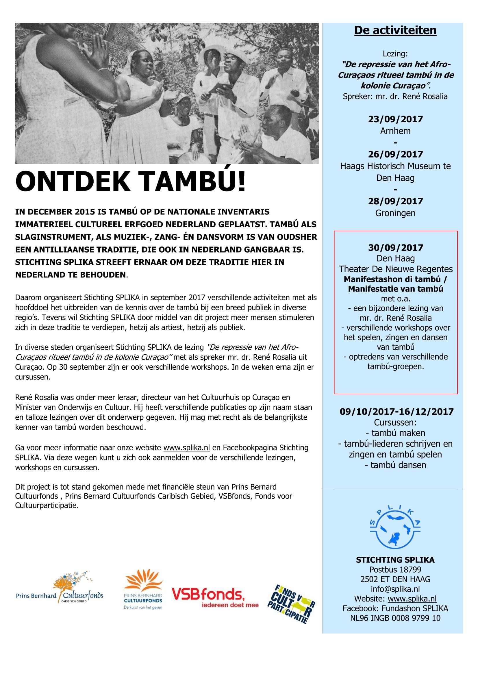 170915 poster Poster ontdek Tambú